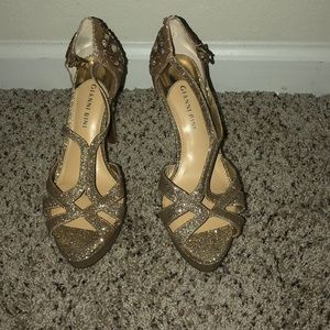 Gold Glitter special occasion shoes